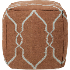 Surya Wool Pouf 48 in Fretwork Mocha and Robins Egg Blue