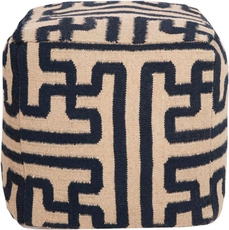 Surya Wool Pouf 49 in Greek Key Mossy Gold