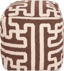 Surya Wool Pouf 50 in Greek Key Dark Chocolate