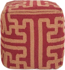 Surya Wool Pouf 51 in Greek Key Maroon
