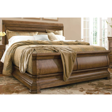 Universal Furniture Great Rooms Pennsylvania House New Lou Louie Ps Sleigh Bed in Cognac