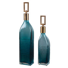 Uttermost Annabella Teal Glass Bottles Set of 2