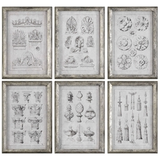 Uttermost Architectural Accents Wall Art Set of 6
