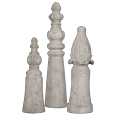 Uttermost Asmund Aged Ivory Finials Set of 3