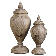 Uttermost Brisco Carved Wood Finials Set of 2