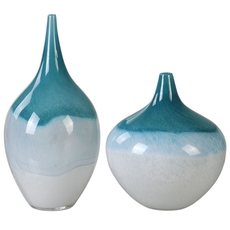 Uttermost Carla Teal White Vases Set of 2