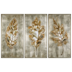 Uttermost Champagne Leaves Wall Art Set of 3