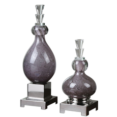 Uttermost Charoite Purple Glass Bottles Set of 2