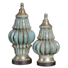 Uttermost Fatima Sky Blue Decorative Urns Set of 2