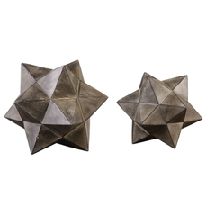 Uttermost Geometric Stars Concrete Sculpture Set of 2