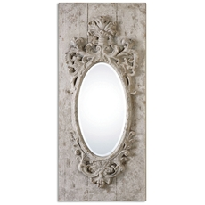 Uttermost Guardia Gray Ivory Oval Mirror