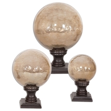 Uttermost Lamya Glass Globe Finials Set of 3
