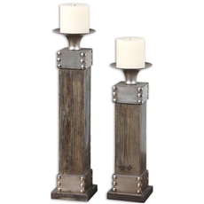 Uttermost Lican Natural Wood Candleholders Set of 2