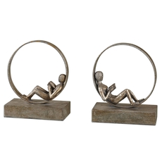 Uttermost Lounging Reader Antique Bookends Set of 2
