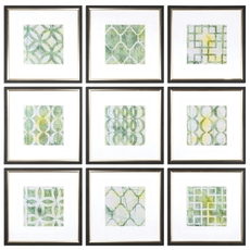 Uttermost Metric Links Geometric Art Set of 9