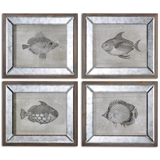 Uttermost Mirrored Fish Framed Art Set of 4