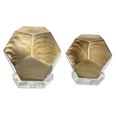 Uttermost Pentagon Coffee Bronze Cubes Set of 2
