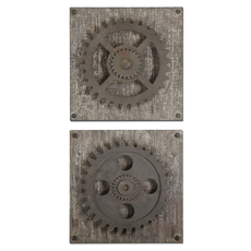 Uttermost Rustic Gears Wall Art Set of 2