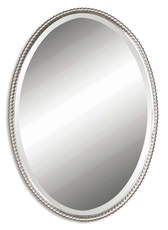 Uttermost Sherise Oval Mirror in Brushed Nickel