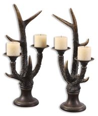 Uttermost Stag Horn Candleholders Set of 2