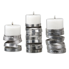 Uttermost Tamaki Silver Candleholders Set of 3