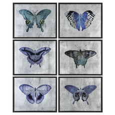 Uttermost Vibrant Butterflies Wall Art Set of 6