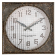 Uttermost Warehouse Wall Clock With Grill