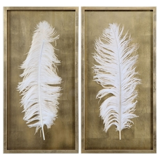 Uttermost White Feathers Wall Art Set of 2
