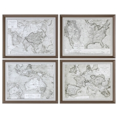 Uttermost World Maps Wall Art Set of 4