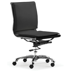 Zuo Modern Lider Plus Armless Office Chair in Black