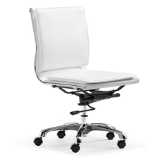 Zuo Modern Lider Plus Armless Office Chair in White