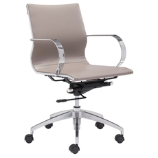 Zuo Modern Glider Low Back Office Chair in Taupe