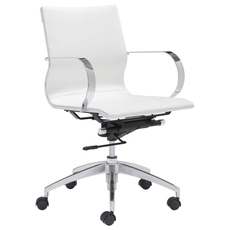Zuo Modern Glider Low Back Office Chair in White