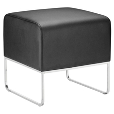 Zuo Modern Plush Ottoman in Black